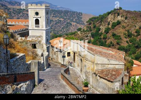Deserted alley in old Savoca village on Sicily island. This village is known from the plan for the scenes in Corleone of Francis Ford Coppola's The Go - Stock Photo