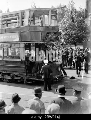 A tram crash in Catford , London . 11 June 1937 - Stock Photo