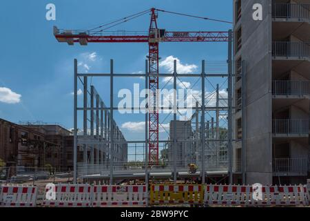 Construction site of a multi-storey car park on a former factory site, Hattersheim, Hesse, Germany