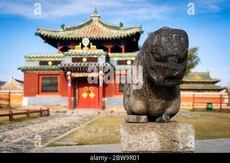 Little statue in front of Dalai Lama temple at Erdene Zuu, Kharkhorin, Ovorkhangai Province, Orkhon Valley, Mongolia, Mongolian, Asia, Asian. - Stock Photo