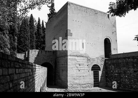 construction in the garden of alhambra. grenada. spain. black and white - Stock Photo