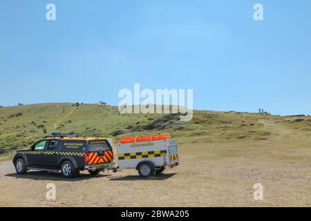 Brean, Burnham-on-Sea, Somerset / UK - May 30, 2020: HM Coastguard 4x4 Nissan Rescue vehicle patrolling the coast in Brean. - Stock Photo