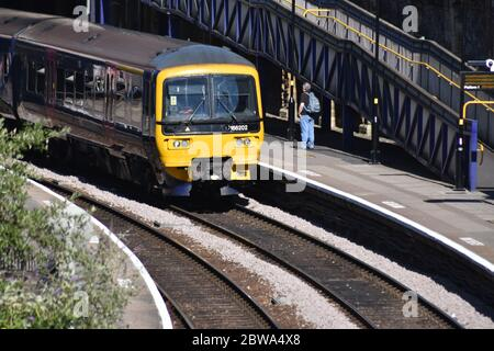 A small train at Clifton Down Railway Station in Bristol - Stock Photo
