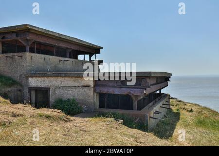 Brean, Burnham-on-Sea, Somerset / UK - May 30, 2020: Remaining of the WWII Second World War gunnery observation post at Brean Down fort near Weston su - Stock Photo