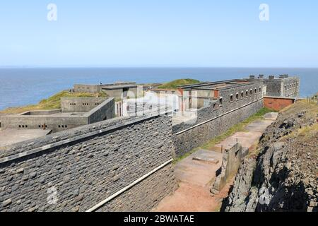 Brean, Burnham-on-Sea, Somerset / UK - May 30, 2020: Brean Down Fort constructed in the 1860s as one of the Palmerston Forts - Stock Photo