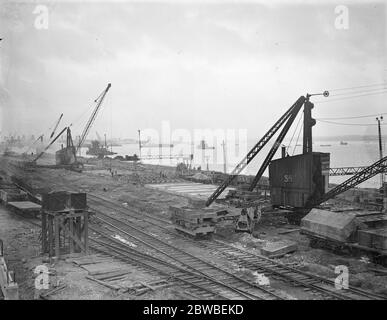 Panoramic view of work in progress on the new Southern Railway graving dock at Southampton which will be the largest in the world 6 October 1931 - Stock Photo