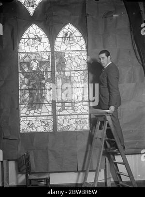 Memorial window to great American actor made in London . A stained glass window is shortly to be unveiled in the church of the Transfiguration , New York , to the memory of Joseph Jefferson , the American actor . The window was designed and carried out by James Powell and Sons , London . Mr James Hogan , the designer , making his final examination of the window at the London studio . 14 January 1925 - Stock Photo