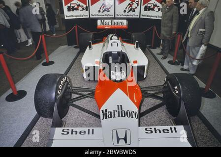 The McLaren MP4/3 or MP4/3B  Formula One racing car built and run by McLaren International during the 1987 Formula One World Championship on display at THE RACING CAR SHOW 1989 SHOW. Olympia 2, London, England, UK, GB. 4-8th January 1989 - Stock Photo