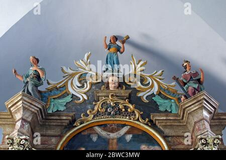 Saint martyr, statues on the altar of Our Lady of Seven Sorrows in the parish church of St. Catherine of Alexandria in Zagorska Sela, Croatia - Stock Photo