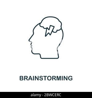 Brainstorming icon from planing collection. Simple line Brainstorming icon for templates, web design and infographics - Stock Photo
