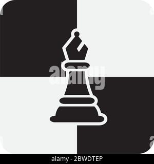 Chess Bishop Pieces isolated on white background. Chessboard Bishop Silhouettes Vector Illustration. - Stock Photo