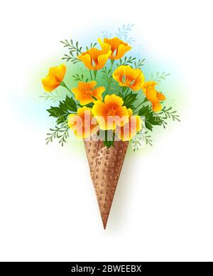 Artistically painted waffle cone with small bouquet of orange, California poppy on white background, painted with blue and green paint. - Stock Photo
