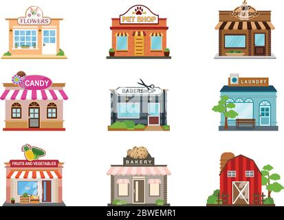 Store Facade Flower Pet Coffee Cafe Barbershop Candy Shop Front View Flat Icon - Stock Photo