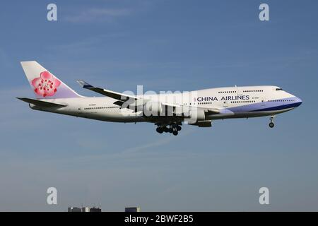China Airlines Boeing 747-400 with registration B-18201 on short final for Amsterdam Airport Schiphol.
