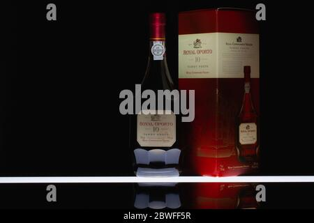Prague, Czech Republic - 30 May,2020:The bottle of Royal Oporto 10 Years Old Tawny Porto from The Real Companhia Velha. It was founded 10th September - Stock Photo