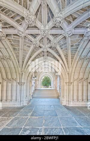 NJ Princeton University Hall - A view to a perfect example of Collegiate Gothic architecture style.  Princeton University is a private Ivy League - Stock Photo