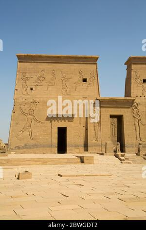 The First Pylon, Temple of Isis, UNESCO World Heritage Site, Philae Island, Aswan, Egypt