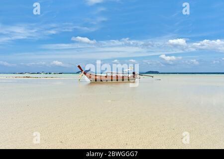 Longtail Boat at Loh Ba Kao Bay on Koh Phi Phi Island, Thailand, Asia - Stock Photo
