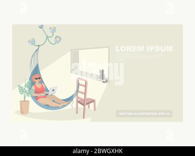 A woman in a hammock with a laptop is resting and working in an apartment. Vacation at home. The concept of work at home, home rest - Stock Photo