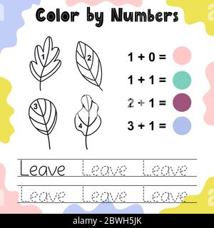 Color the leaves by numbers. Funny coloring game - Stock Photo