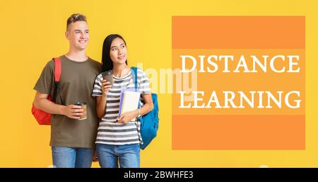 Portrait of students on color background. Concept of distance learning - Stock Photo