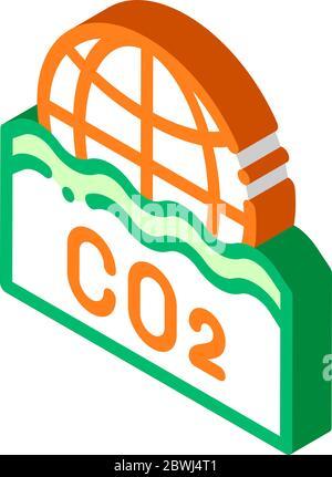 Co2 Smoulder Smoke Steam isometric icon vector illustration - Stock Photo