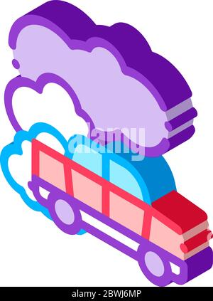 Car Co2 Carbonic Oxide Air isometric icon vector illustration - Stock Photo