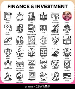 Finance & Investment concept line icon style for ui, ux, website, web, app graphic design - Stock Photo