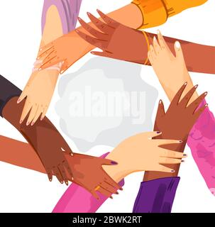 Hands of diverse group of women putting together in circle. Concept of sisterhood, girl power, feminist community or movement, friendship, support and - Stock Photo