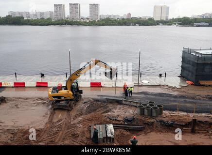Moscow, Russia. 2nd June, 2020. Improvement works under way at the North River Terminal. Credit: Gavriil Grigorov/TASS/Alamy Live News