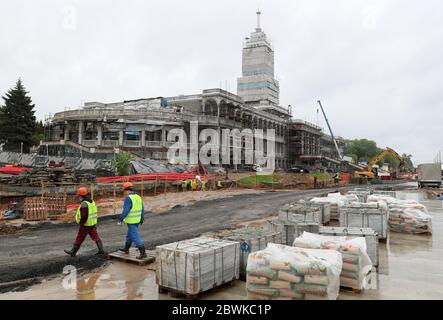 Moscow, Russia. 2nd June, 2020. Workers are seen at the reconstruction site of the North River Terminal. Credit: Gavriil Grigorov/TASS/Alamy Live News