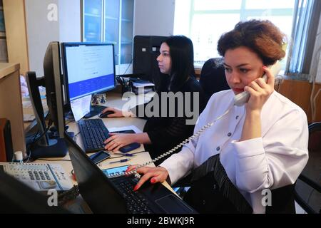 Moscow, Russia. 2nd June, 2020. Employees work on the admission day for applicants enrolling on extramural programmes at the Russian University of Transport (MIIT). Credit: Sergei Fadeichev/TASS/Alamy Live News