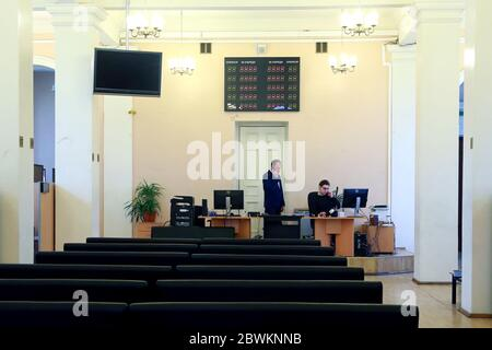 Moscow, Russia. 2nd June, 2020. Alexander Vlasov (L), first deputy executive secretary of the admissions office of the Russian University of Transport (MIIT), is seen on the admission day for applicants enrolling on extramural programmes. Credit: Sergei Fadeichev/TASS/Alamy Live News