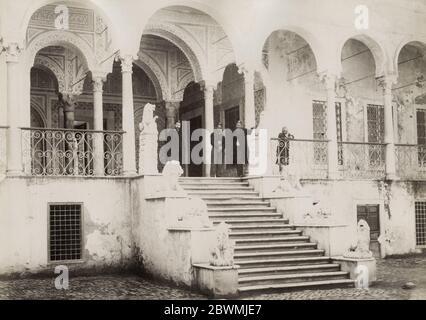 Vintage 19th century photograph - Lion staircase, Bardo National Museum, Tunis, Tunisia. - Stock Photo