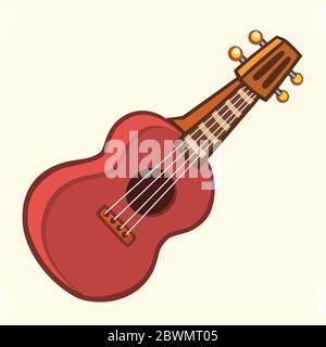 Cartoon Vector Illustration of Acoustic Guitar or ukulele. Cartoon clip art. Musical instrument icon - Stock Photo