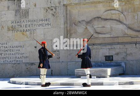 Changing of Presidential guards ceremony in front of the Tomb of the unknown soldier at the Greek Parliament - Athens, Greece, March 12 2020. - Stock Photo
