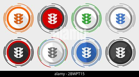 Traffic lights vector icon set, modern design flat graphic in 8 options for web design and mobile applications - Stock Photo