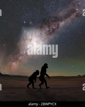 About 3.5 million years ago - just a blink of an eye in cosmic time - a tremendous explosion rocked the center of our galaxy. Our distant hominid ance