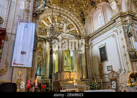 Virgin Mary Statue Altar Basilica Our Lady of Solitude Nuestra Senora Soledad Church Oaxaca Mexico. Built in 1690. Our Lady of Loneliness Mary after - Stock Photo