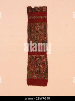 Author: Wari. Fragment (Band) - A.D. 800/1100 - Provincial Wari Peru. Cotton and wool (camelid), tapestry weave with supplementary weft slit closure. - Stock Photo