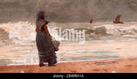 Author: Winslow Homer. The Watcher, Tynemouth - 1882 - Winslow Homer American, 1836-1910. Transparent and opaque watercolor, with rewetting, - Stock Photo