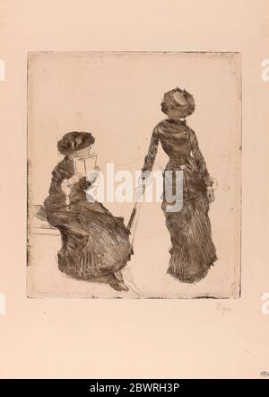Author: Hilaire Germain Edgar Degas. Mary Cassatt at the Louvre: The Etruscan Gallery - 1879'80 - Edgar Degas French, 1834-1917. Soft ground etching, - Stock Photo