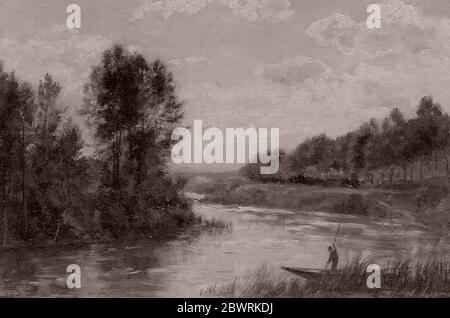 Author: Stanislas Lpine. A Stream in France - c. 1880 - Stanislas Lpine French, 1835-1892. Oil on panel. 1875'1885.