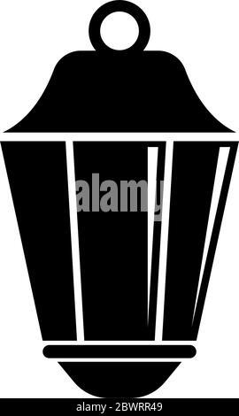 Street Lantern, Old Pendant Light Lamp. Flat Vector Icon illustration. Simple black symbol on white background. Street Lantern, Pendant Light Lamp sig - Stock Photo