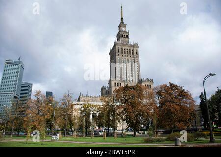 WARSAW, POLAND - SEPTEMBER 18 : View landscape and cityscape with clouds sky of Congress Hall or sala kongresowa warszawa at Palace of Culture and Sci - Stock Photo