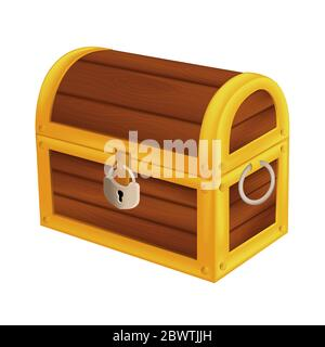 Treasure wooden pirate chest. Isometric vector illustration of vintage closed money trunk with metal padlock and handle isolated on white background - Stock Photo