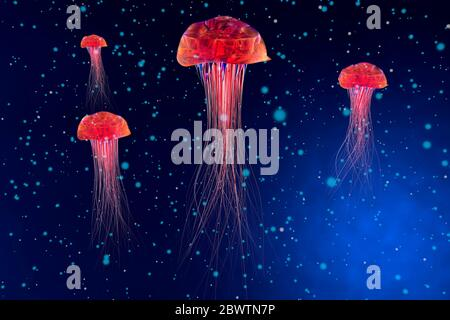 Three dimensional render of red glowing jellyfish - Stock Photo