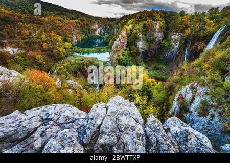 Croatia, Scenic landscape of Plitvice Lakes National Park in autumn - Stock Photo