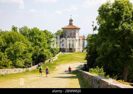 A chapel at pilgrimage village of Santa Maria del Monte on Sacro Monte di Varese, UNESCO World Cultural Heritage Site, Santa Maria del Monte, Varese, - Stock Photo