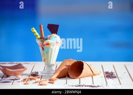 Panorama of glass with rainbow ice cream and colorful syrup on blur bokeh background with copy space. Waffle chocolate cones on white table top of blu - Stock Photo
